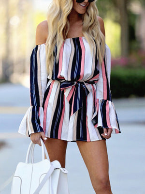Clubwear Playsuit Party Romper Striped Short Trousers