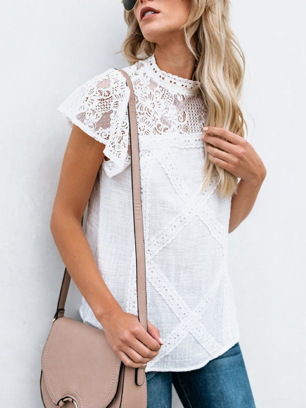 Fashion Lace Floral Hollow Out T-Shirt