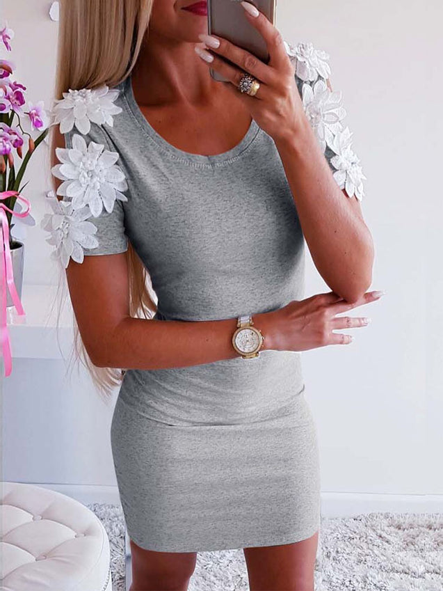 Flower Splicing Cold Shoulder Dress