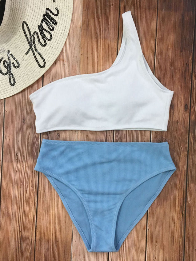 One Shoulder High Waisted Ribbed Bikini Set