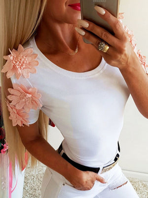 Ladies Blouse With Flower Sleeve