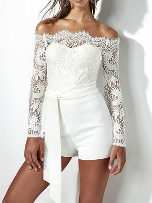 White Lace Splicing Lace-Up Off Shoulder Long Sleeves Playsuit
