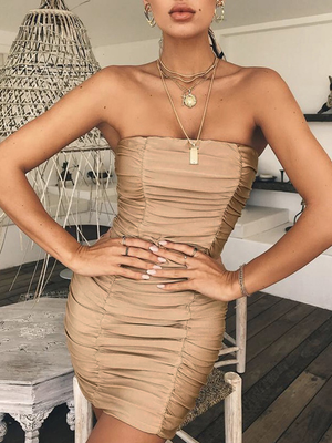 Off Shoulder Strapless Backless Wrap Bodycon Mini Dress