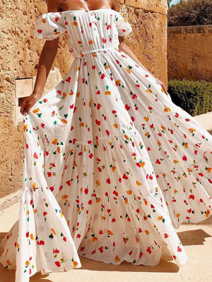 Off Shoulder Floral Printing Pattern Maxi Dress