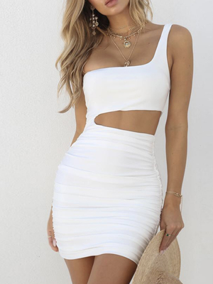 Sleeveless One Shoulder Bodycon Mini Dress