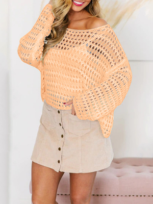 One Shoulder Collar Perspective Solid Long Sleeve Tops
