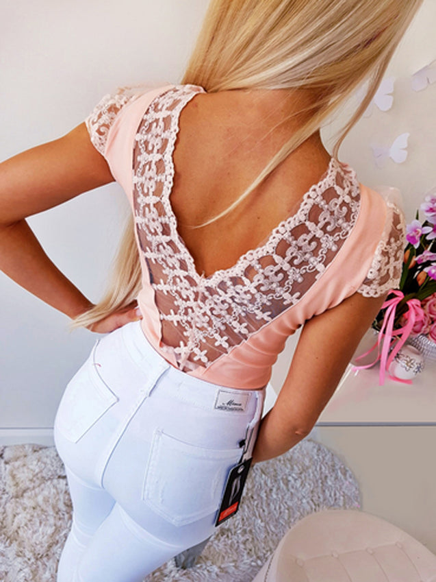 Open Back Lace Stitching Top