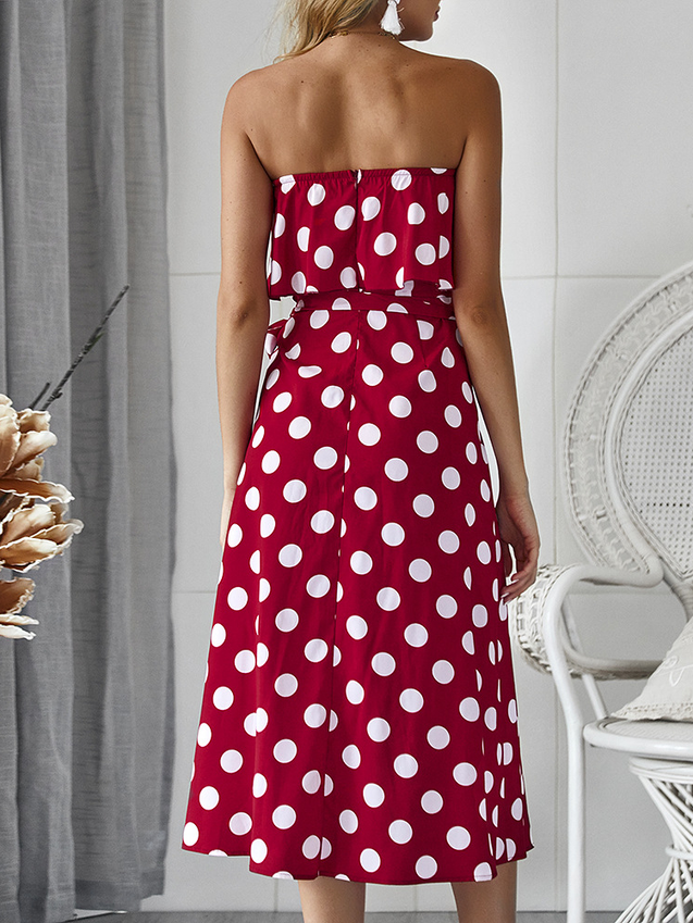 Sleeveless Polka Dot Beach Chiffon  Ruffled Maxi Dress