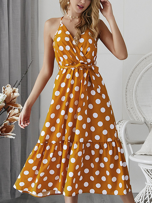 Polka Dot Beach Chiffon Sleeveless Maxi Dress