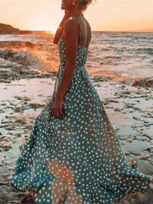 Polka Dot Ruffled Print Bohemian Holiday Wind Beach Dress