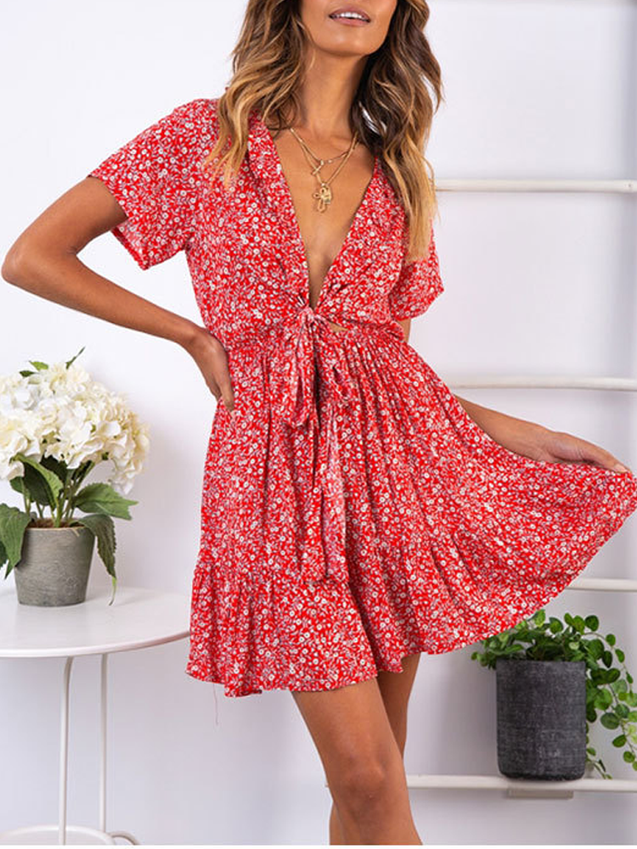 Printing Deep V-Neck Lace-up Ruffled Mini Dress