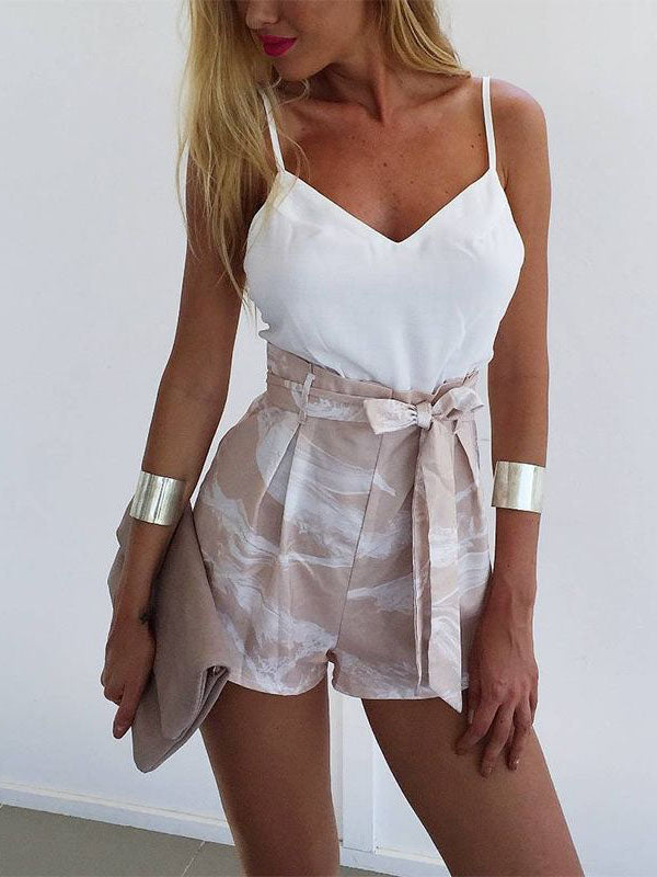White V-Neck Straps Tank Top Lace-Up Printing Pants Two-Pieces Suit