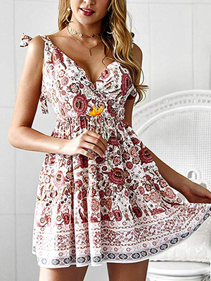 Vintage Chiffon Casual  Printing V-Neck Mini Dress