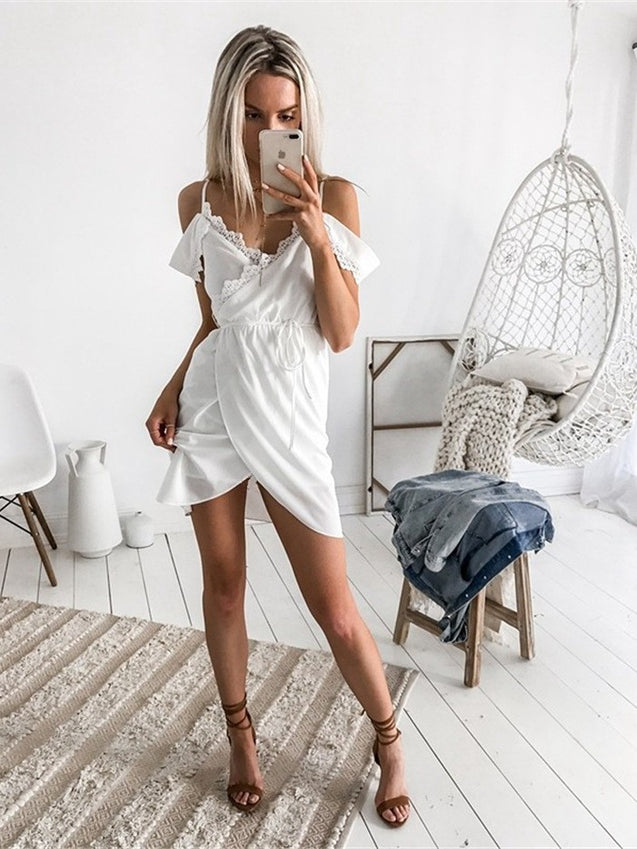 Solid Color Sleeveless Off Shoulder Party Dress