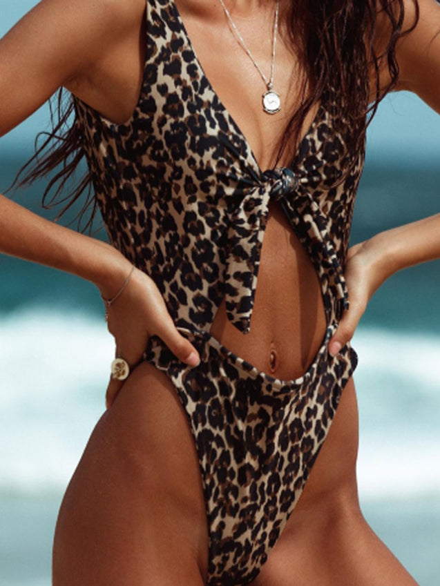 Leopard Knotted One Piece Swimwear