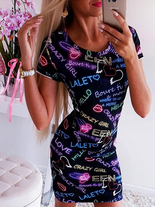 Sexy Letter Printed Bodycon Dress