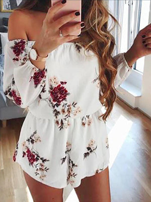 Long Sleeves Off Shoulder Belt Backless Sexy Rompers