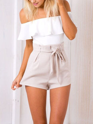 Elegant Off Shoulder Backless Romper High Waist Jumpsuit
