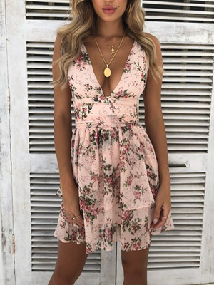 Plunging Neck Floral Chiffon Dress
