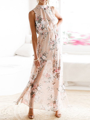 Floral Print Thigh Split Side Open Back Maxi Dress