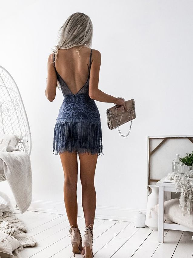 V Neck  Cocktail Fringed Backless Blue Lace Dress
