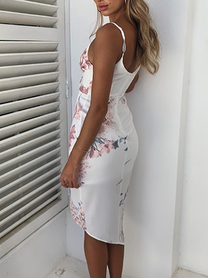 Floral Print Dip Hem Ruched Wrap Bodycon Dress