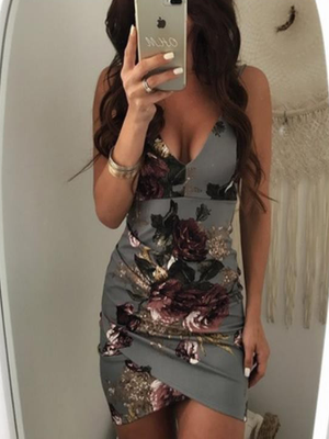 Floral V Neck Slim Ladies Party Mini Dress
