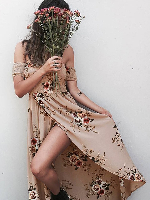 Slit Off Shoulder Printing Beach Dress