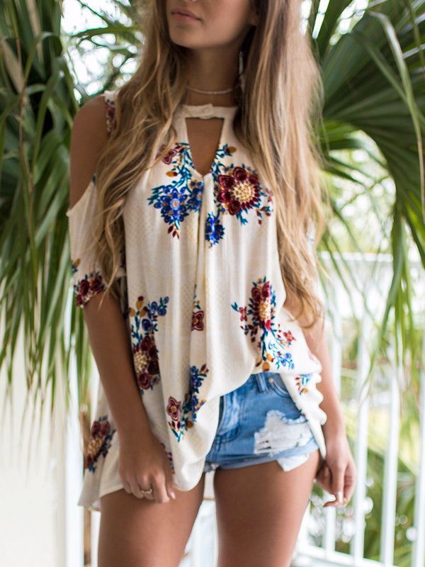 Floral Printing Casual 3/4 Sleeve Blouse V Neck  T-Shirts