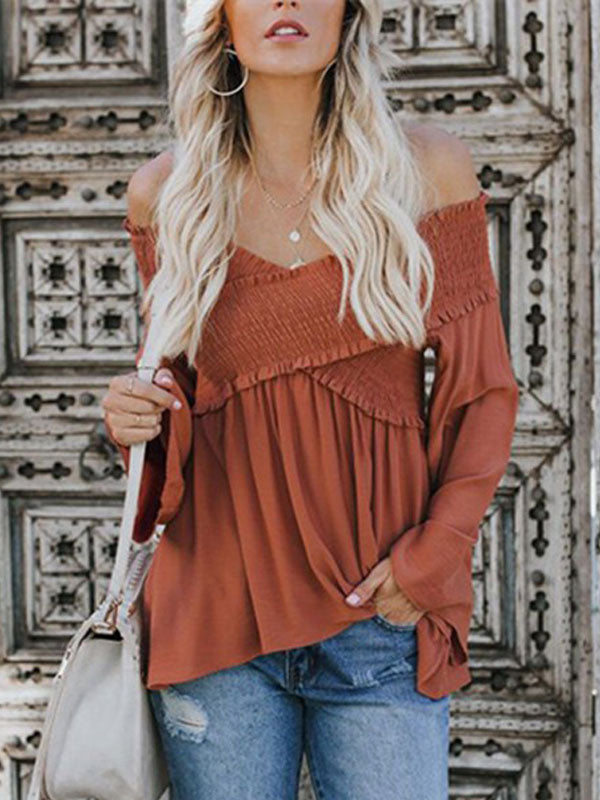 Folds Irregular Off Shoulder Trumpet Sleeves  Blouse Top