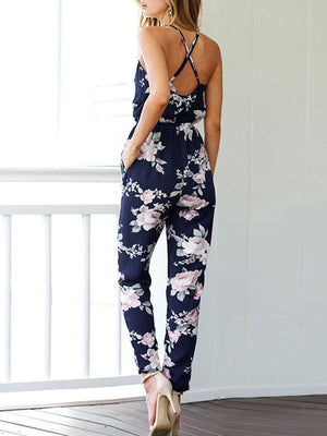 Slim Fit Printing V Neck Jumpsuit