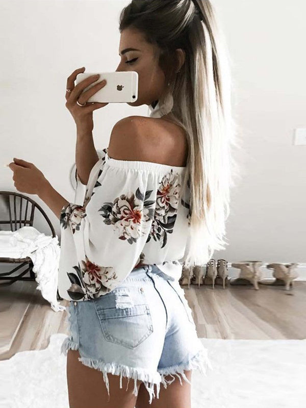Floral Off Shoulder 3/4 Length Sleeves T-Shirt
