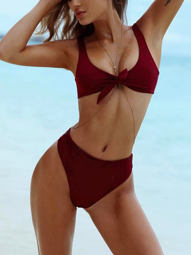 Solid Slim Fit Knot Swimwear