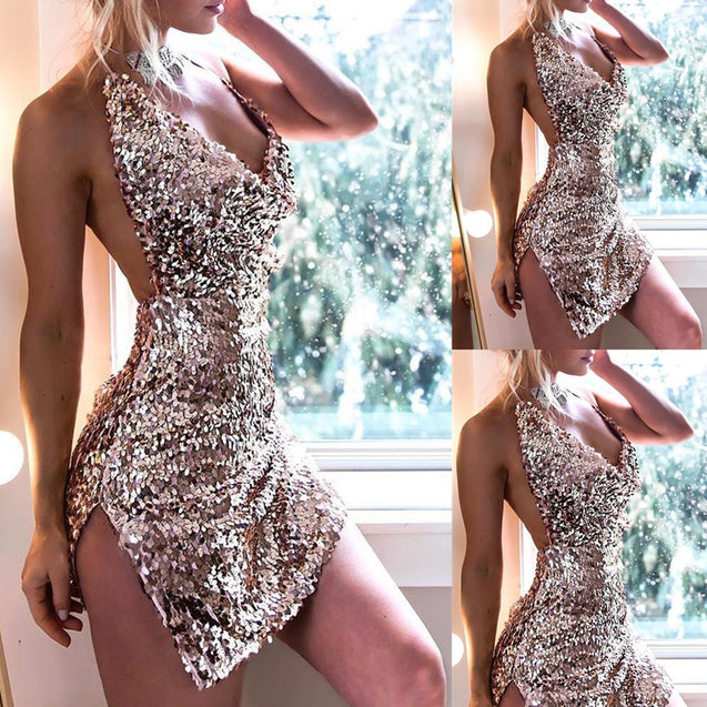 Sequin Backless Split V-Neck Spaghetti Strap Evening Dress