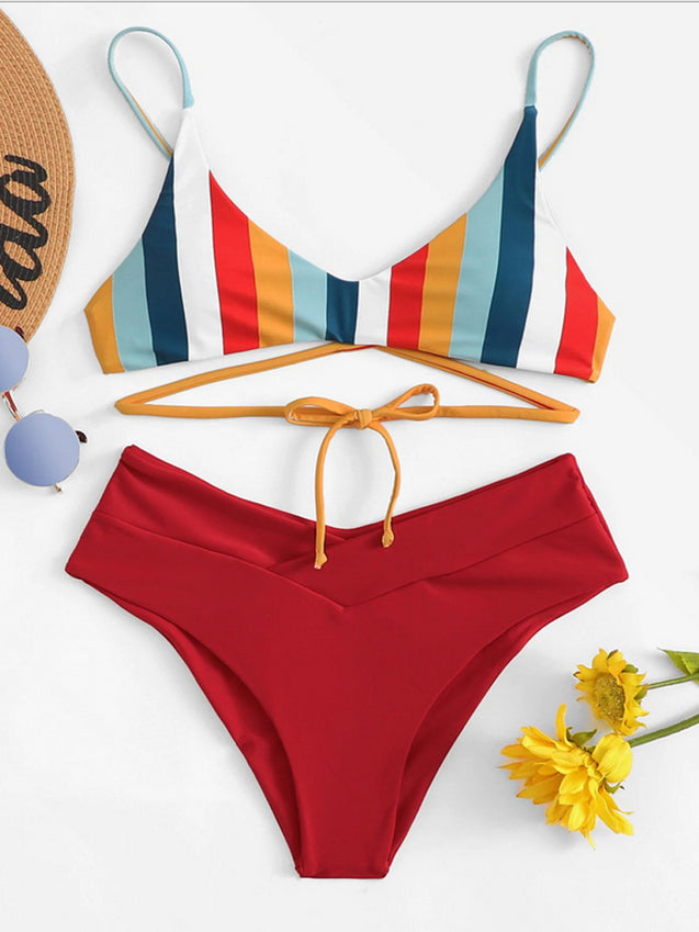 Stripe Popular High Waist Bikini