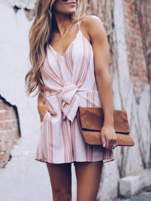 Spaghetti Strap Backless Belt Loops Striped Sleeveless Playsuits