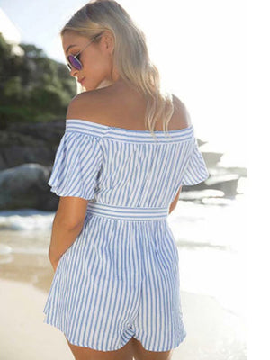 Striped Off Shoulder Striped Playsuits Short Rompers