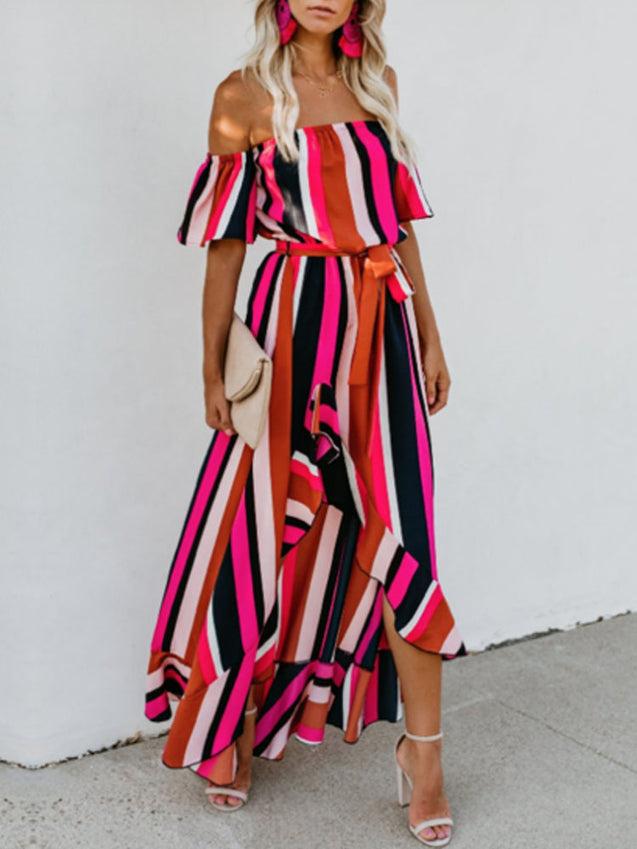 Striped Strapless Tie Maxi Dress