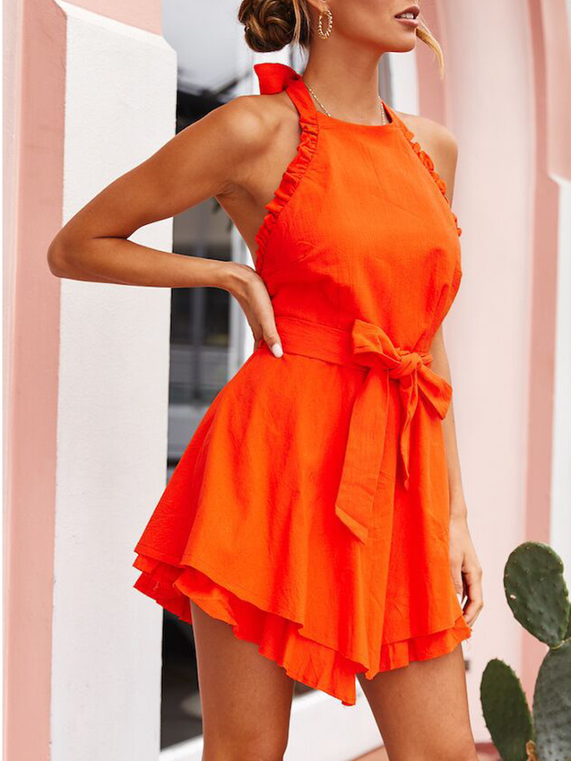 Stylish Casual Halter Straps Solid Color Dress