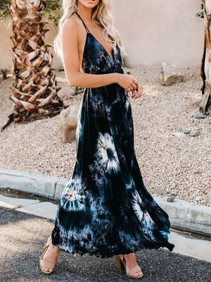 Sleeveless V-Neck Printed  Irregular Maxi Dress