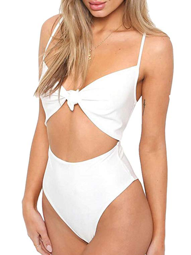 Tie Knot Front Cut-Out High Waisted  Swimsuit