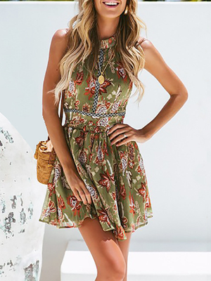Beach Vacation Bohemian Style Print Mini Dresses