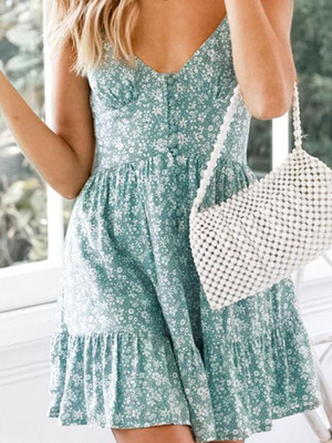 V-Neck Floral Flare Summer Mini Dress