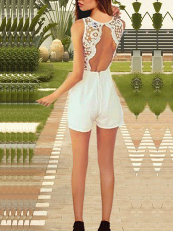 Fashion Backless Lace Splicing Hollow Out Romper