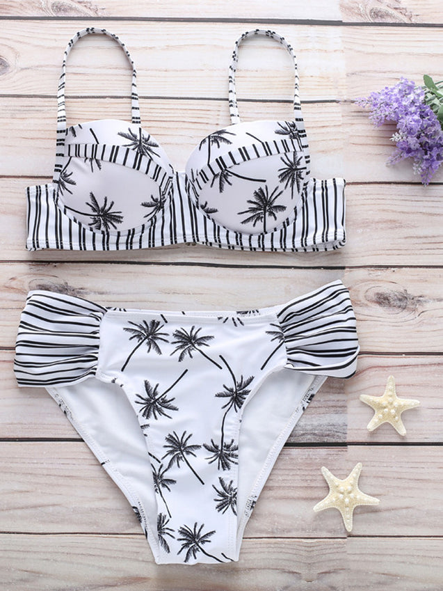 Push up High Waist Leaf Printing Bikini Set