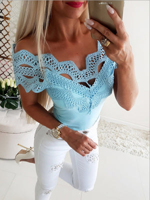 Women Short Sleeve V-Neck Lace Top