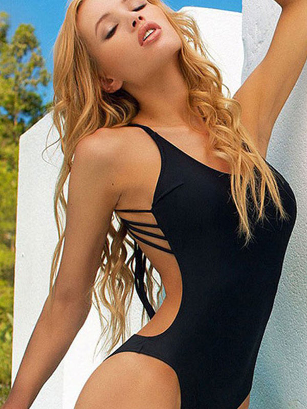 Spaghetti Strap Backless Solid Swimsuit