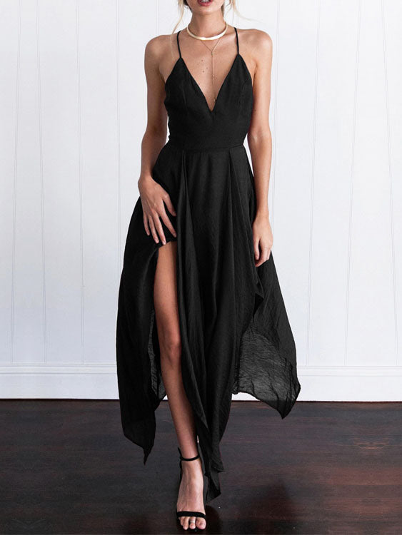 Spaghetti Strap V Neck Backless Irregular Dress
