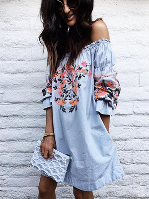 Multicolor Floral Printing Off Shoulder Long Sleeves Shift Dress