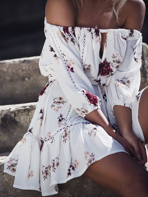 Off Shoulder Printing Irregular Beach Mini Dress